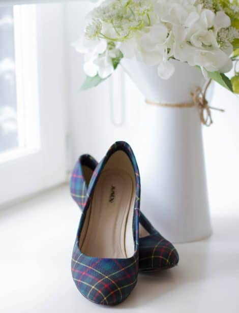 Tartan shoes in the window